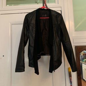 Leather jacket suede front zipper up